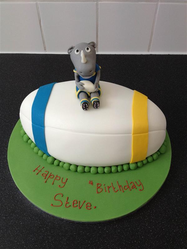 Cake Decorating Company Leeds : Leeds Rhinos Cake - Ronnie Rhino Personalised Birthday Cakes - The Little Cake Cottage